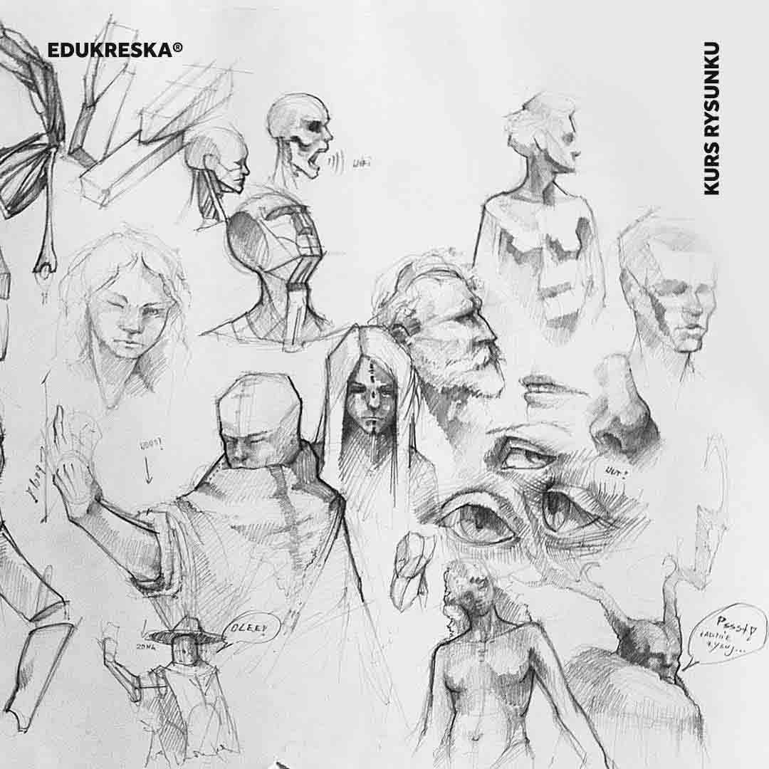 Praca rysunkowa ucznia ze szkoły rysunku w Gdańsku.