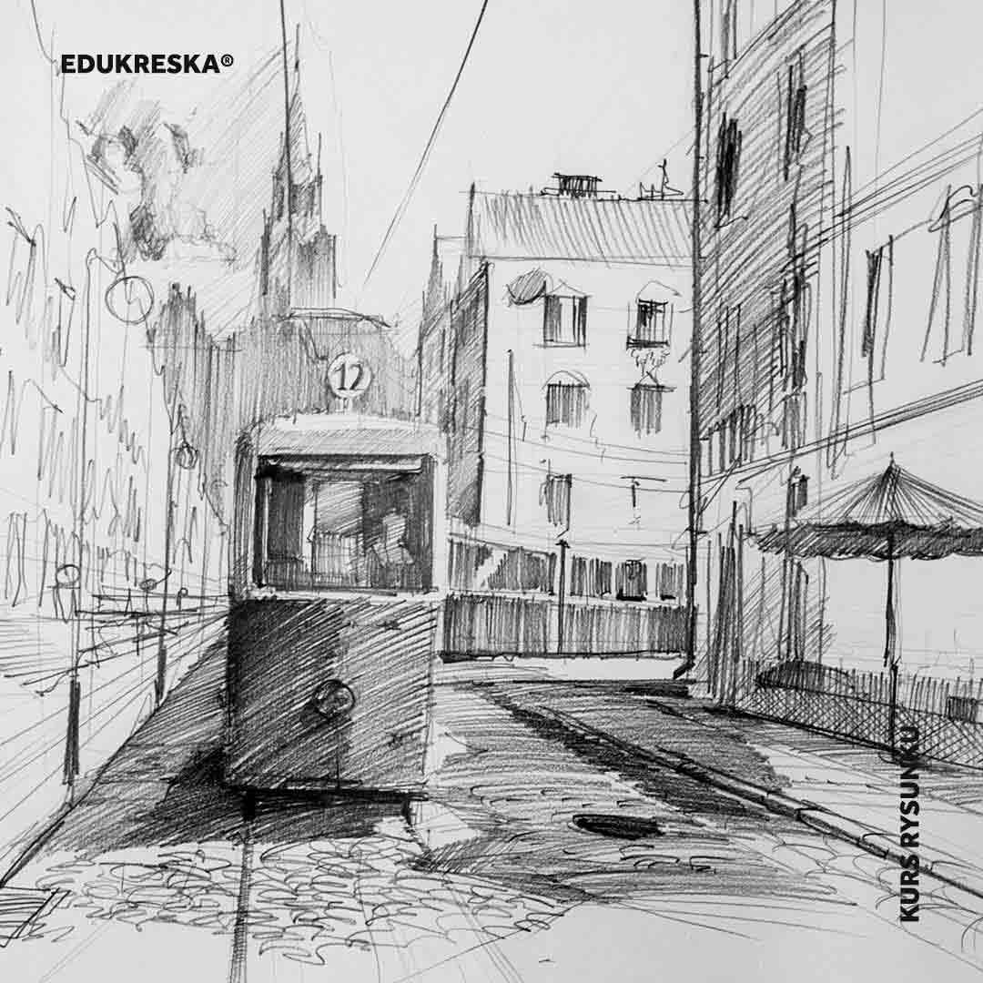 Praca rysunkowa ucznia ze szkoły rysunku w Gdyni.