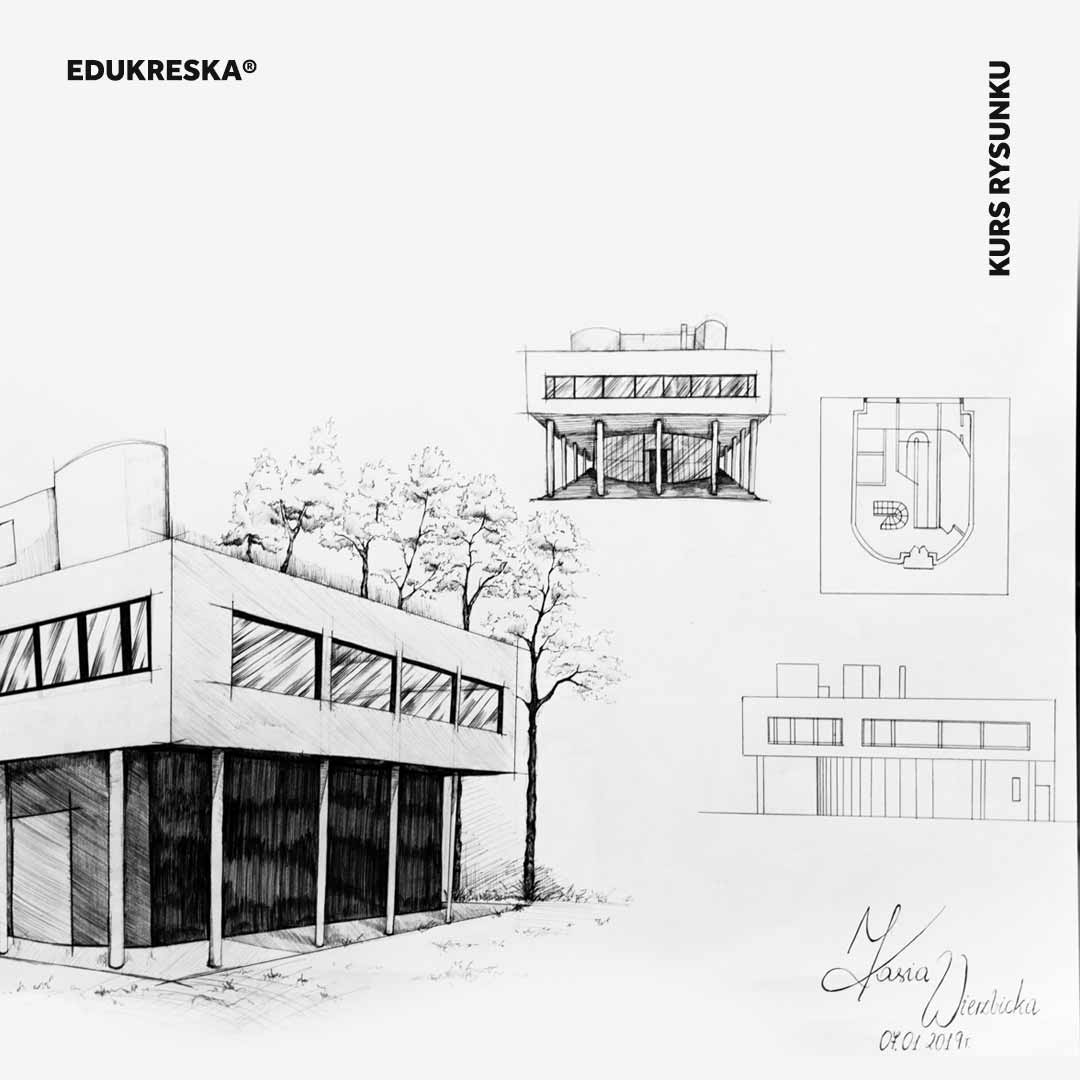 Praca rysunkowa ucznia ze szkoły rysunku w Słupsku.